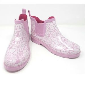 Women's Rubber Ankle Rain Boots, #3165, Pink